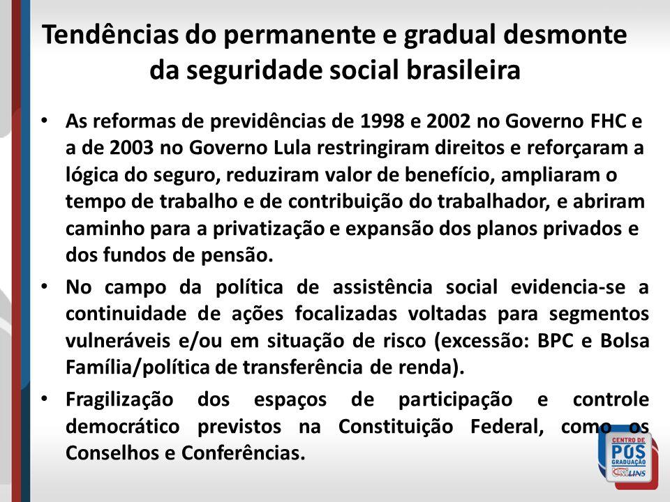 Tendências do permanente e gradual desmonte da seguridade social brasileira