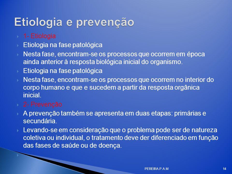 Etiologia e prevenção 1- Etiologia Etiologia na fase patológica