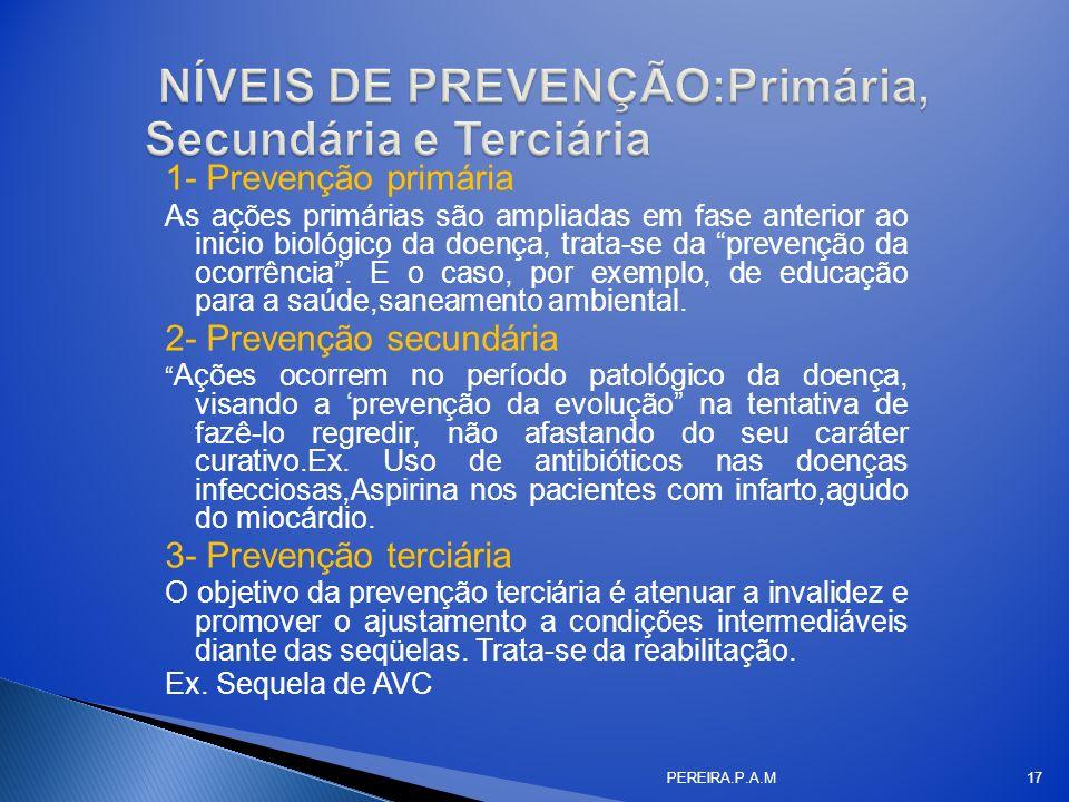 NÍVEIS DE PREVENÇÃO:Primária, Secundária e Terciária