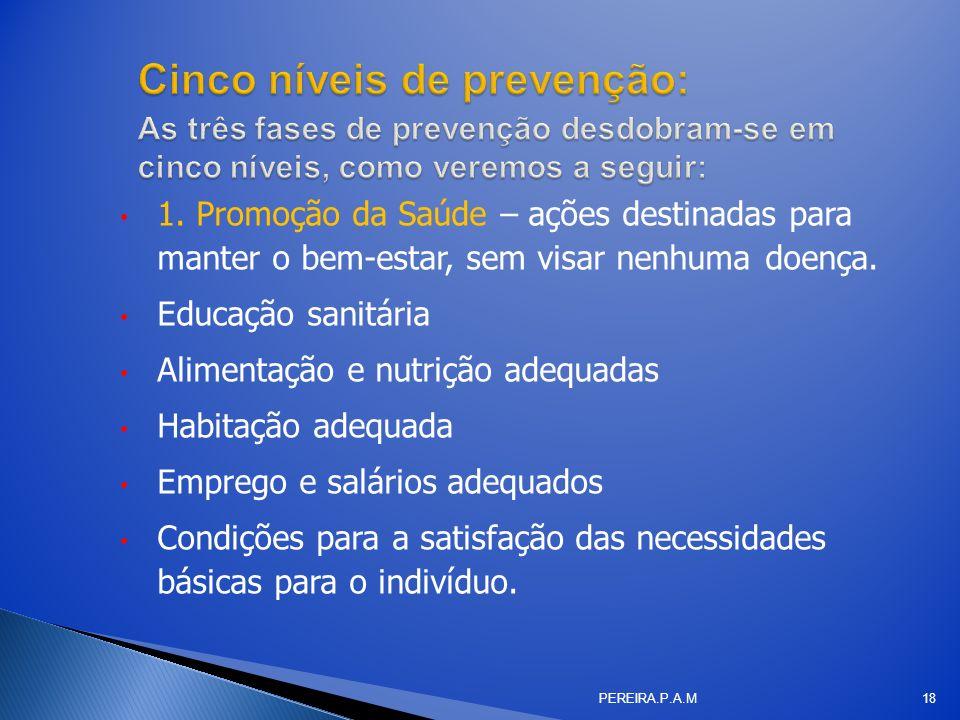 Cinco níveis de prevenção: As três fases de prevenção desdobram-se em cinco níveis, como veremos a seguir: