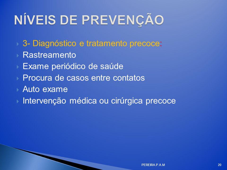 NÍVEIS DE PREVENÇÃO 3- Diagnóstico e tratamento precoce: Rastreamento