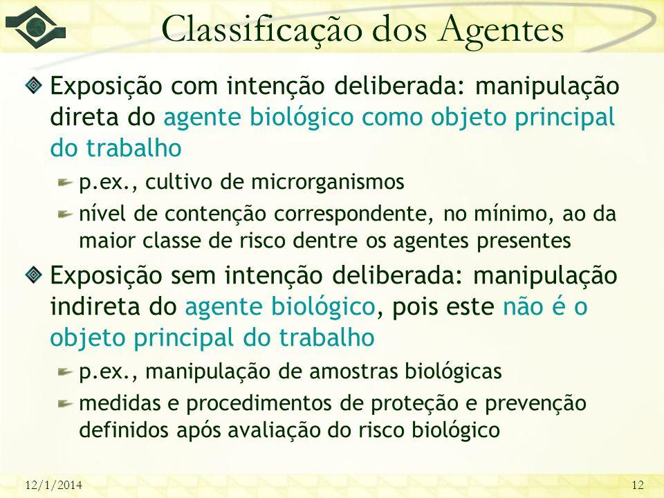 Classificação dos Agentes