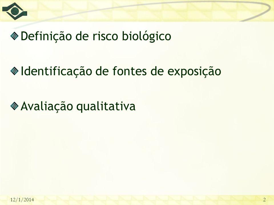 Definição de risco biológico Identificação de fontes de exposição
