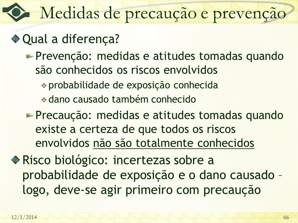 Medidas de precaução e prevenção