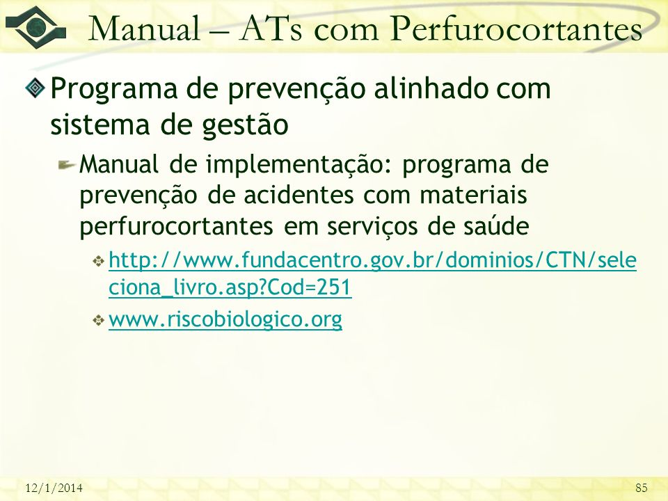 Manual – ATs com Perfurocortantes