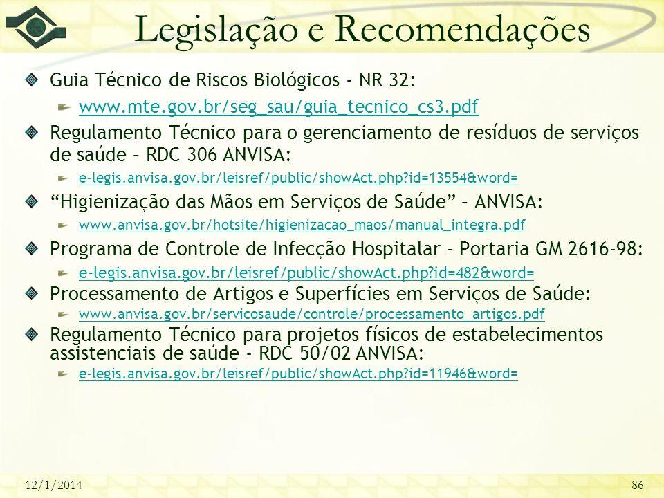 Legislação e Recomendações