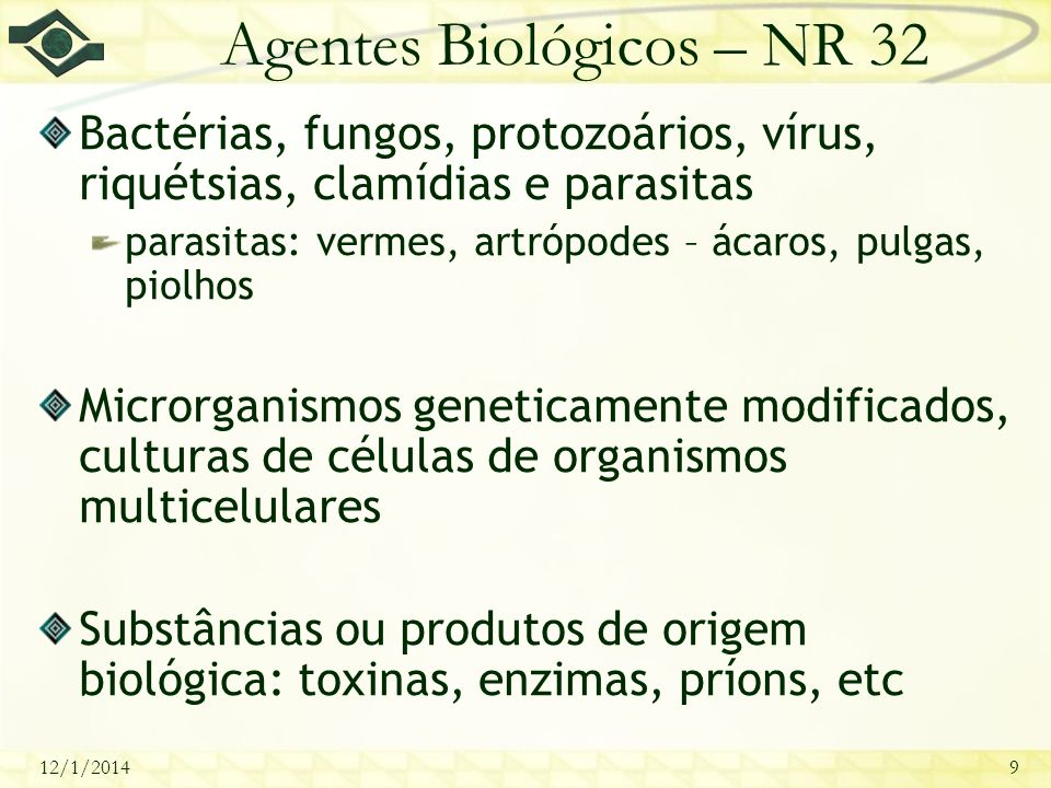 Agentes Biológicos – NR 32