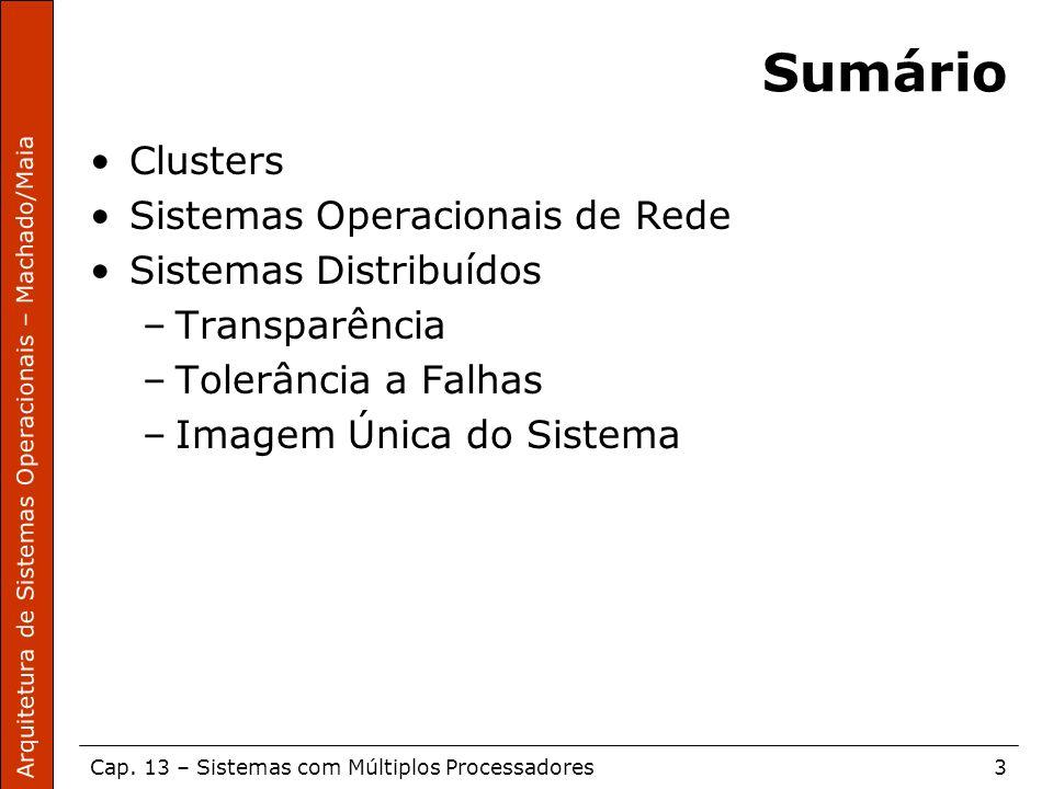 Sumário Clusters Sistemas Operacionais de Rede Sistemas Distribuídos