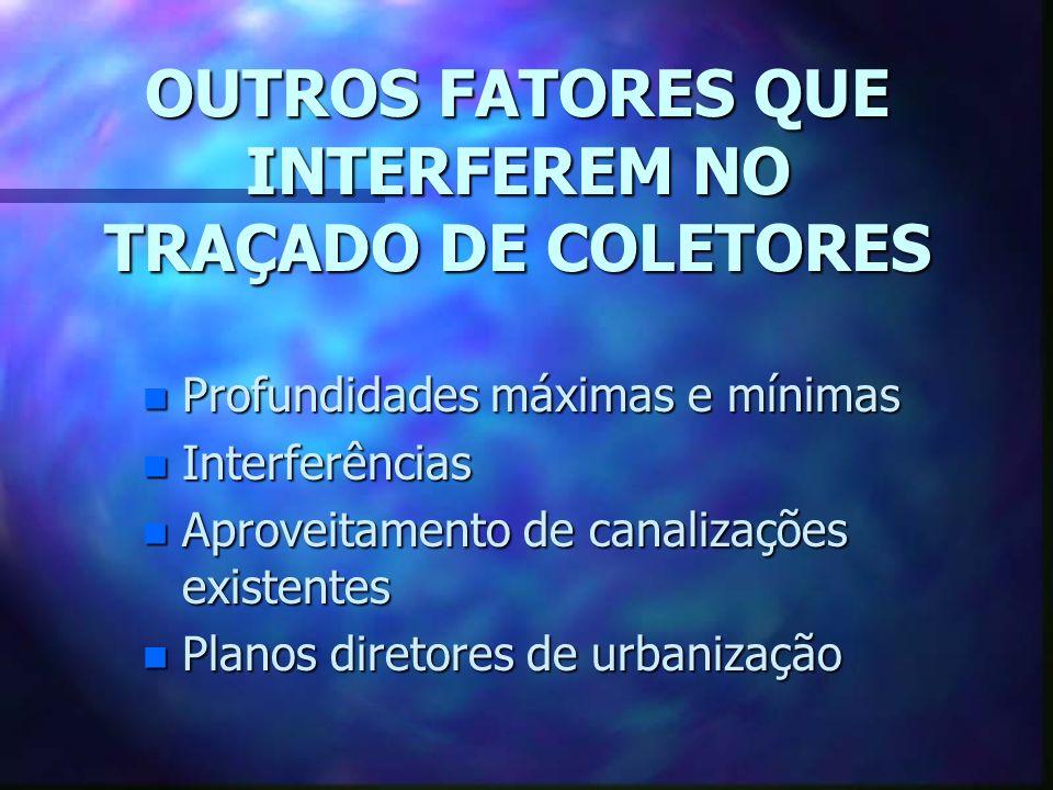OUTROS FATORES QUE INTERFEREM NO TRAÇADO DE COLETORES
