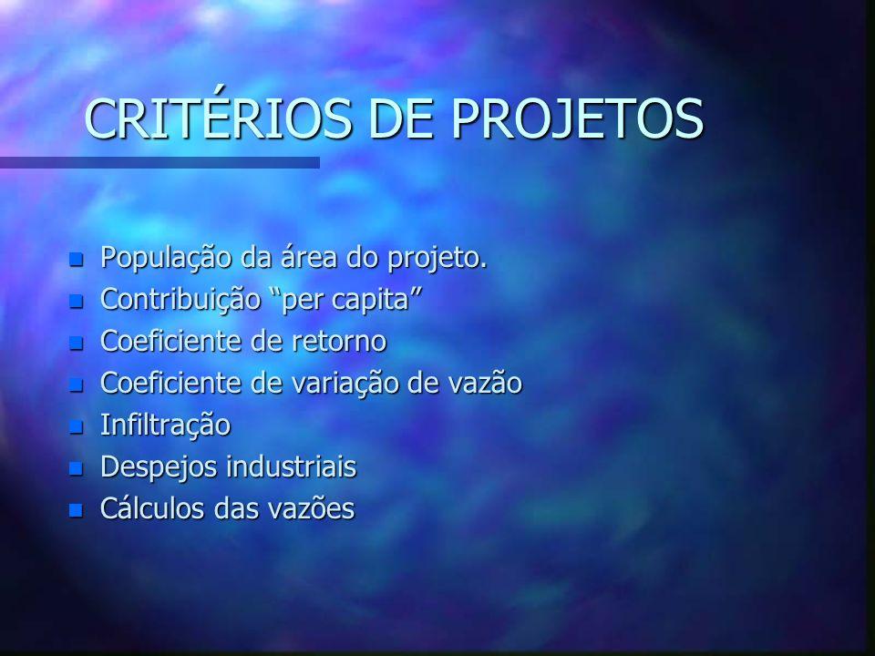 CRITÉRIOS DE PROJETOS População da área do projeto.