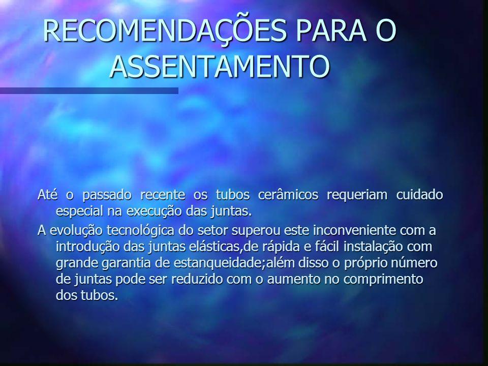 RECOMENDAÇÕES PARA O ASSENTAMENTO