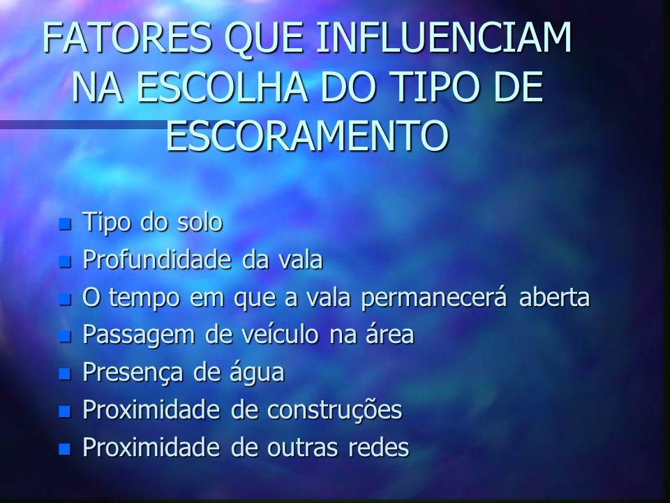 FATORES QUE INFLUENCIAM NA ESCOLHA DO TIPO DE ESCORAMENTO