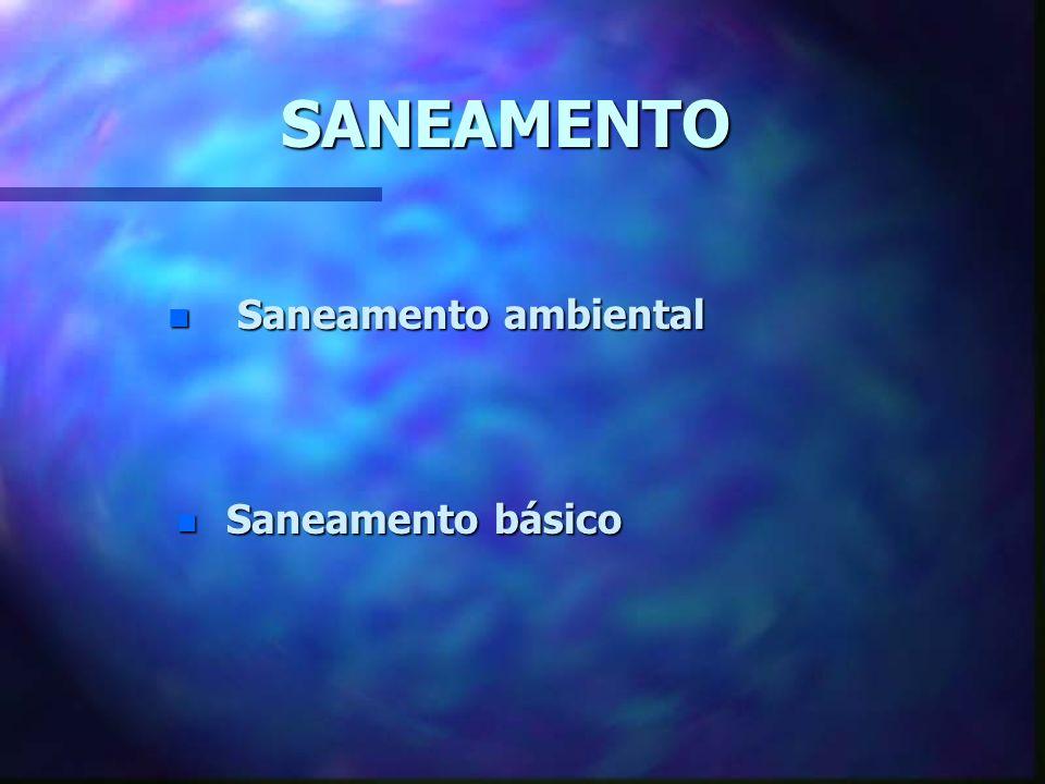 SANEAMENTO Saneamento ambiental Saneamento básico