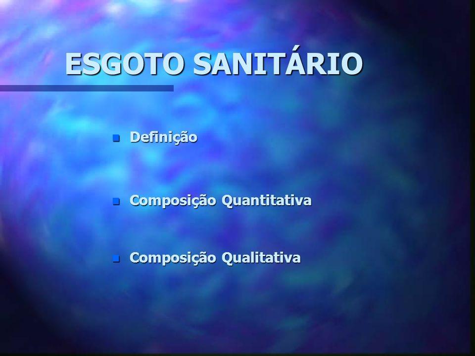 ESGOTO SANITÁRIO Definição Composição Quantitativa