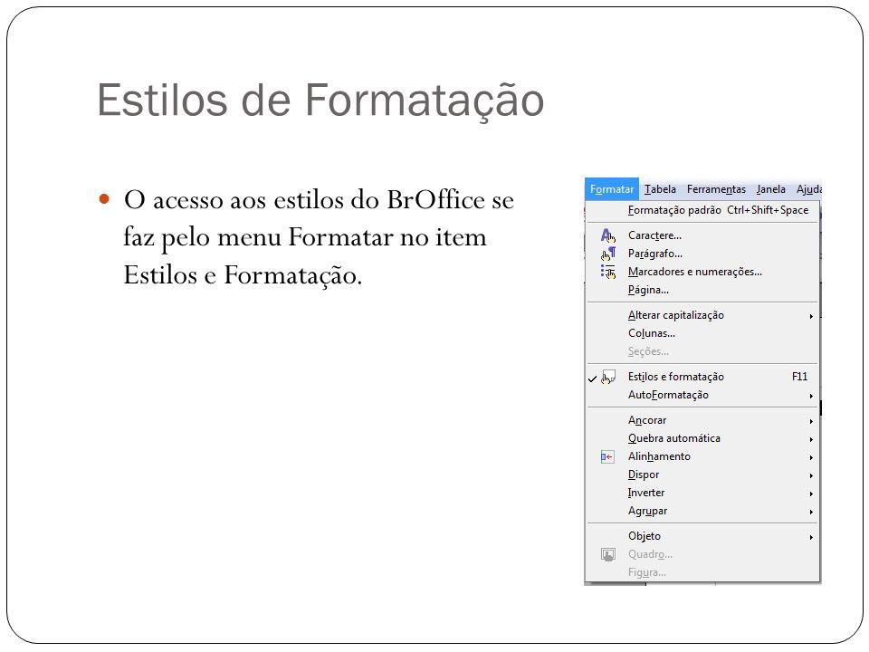 Estilos de Formatação O acesso aos estilos do BrOffice se faz pelo menu Formatar no item Estilos e Formatação.