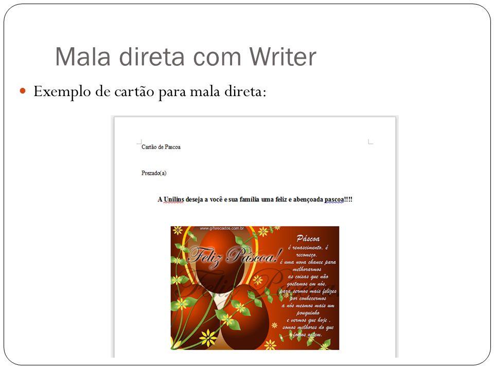 Mala direta com Writer Exemplo de cartão para mala direta: