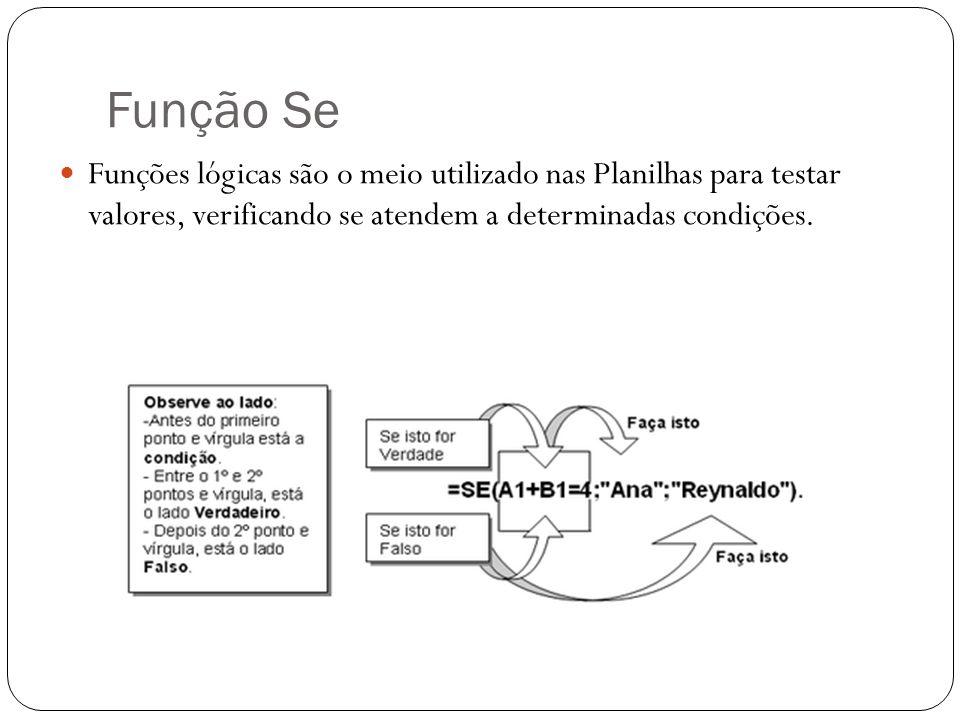 Função SeFunções lógicas são o meio utilizado nas Planilhas para testar valores, verificando se atendem a determinadas condições.