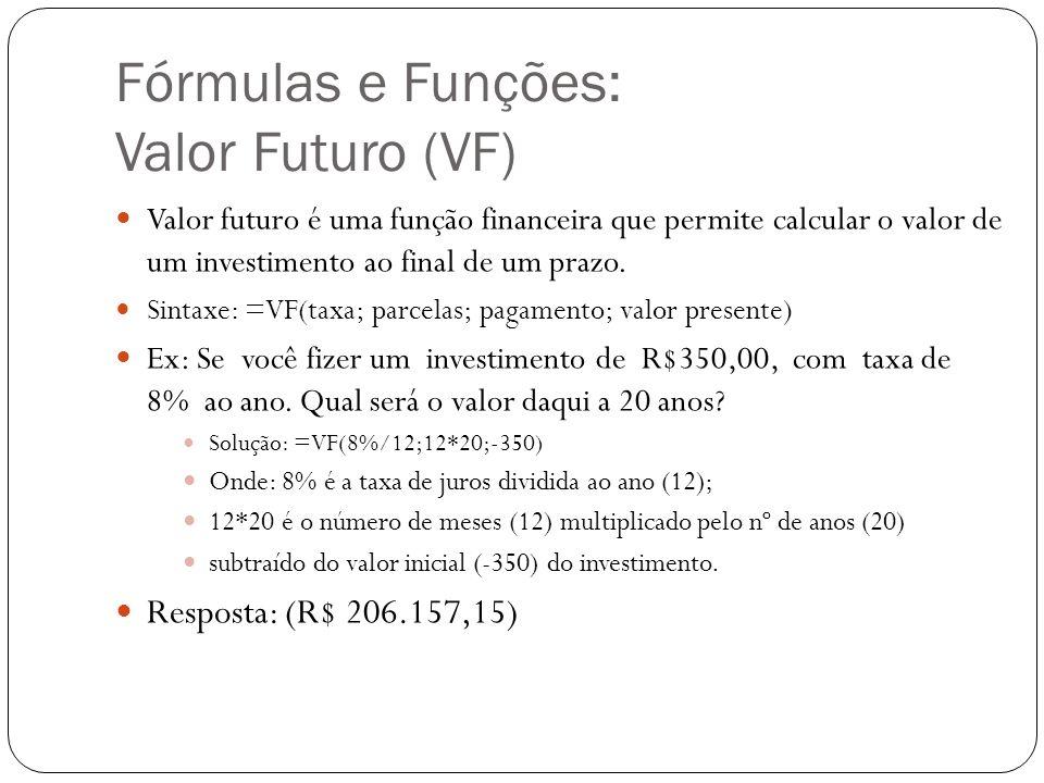 Fórmulas e Funções: Valor Futuro (VF)