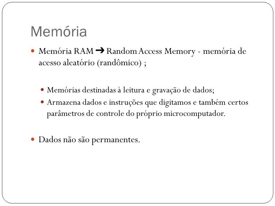 Memória Memória RAM ➔ Random Access Memory - memória de acesso aleatório (randômico) ; Memórias destinadas à leitura e gravação de dados;