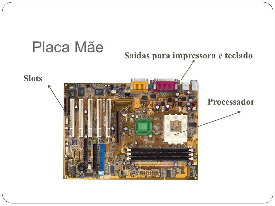 Placa Mãe Saídas para impressora e teclado Slots Processador