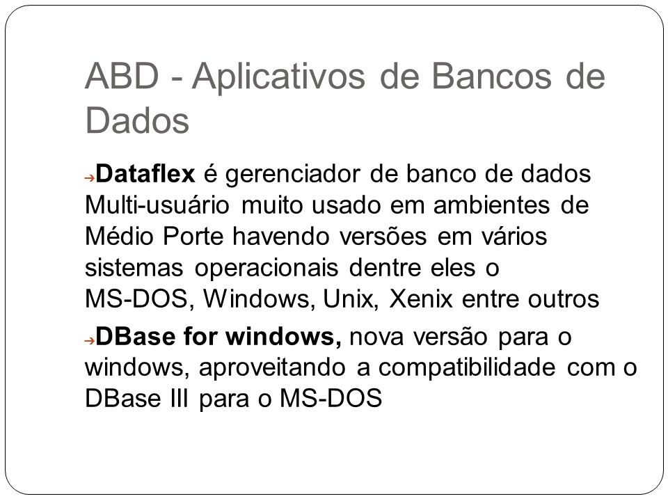 ABD - Aplicativos de Bancos de Dados