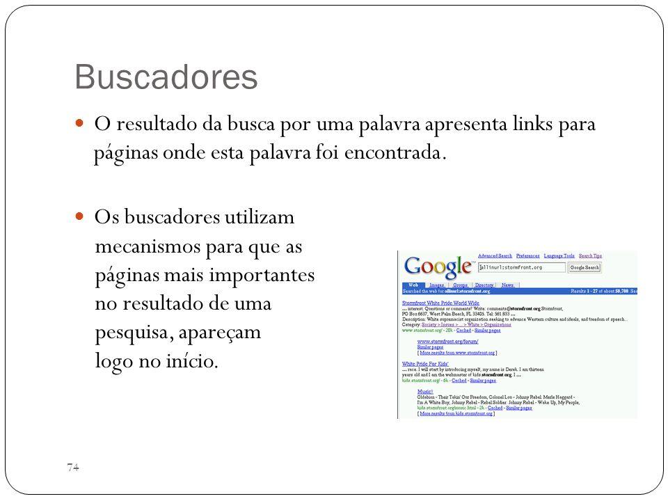 BuscadoresO resultado da busca por uma palavra apresenta links para páginas onde esta palavra foi encontrada.