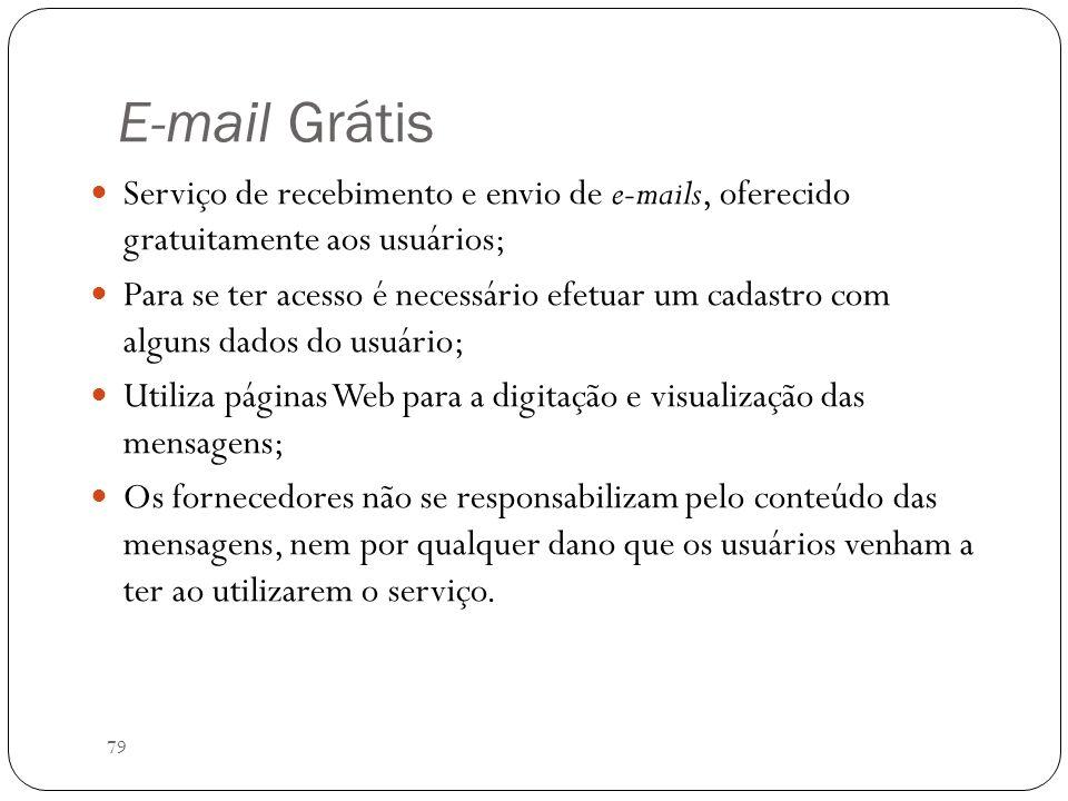 E-mail Grátis Serviço de recebimento e envio de e-mails, oferecido gratuitamente aos usuários;