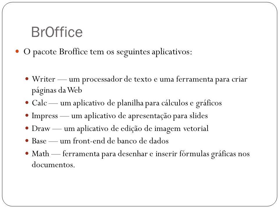 BrOffice O pacote Broffice tem os seguintes aplicativos: