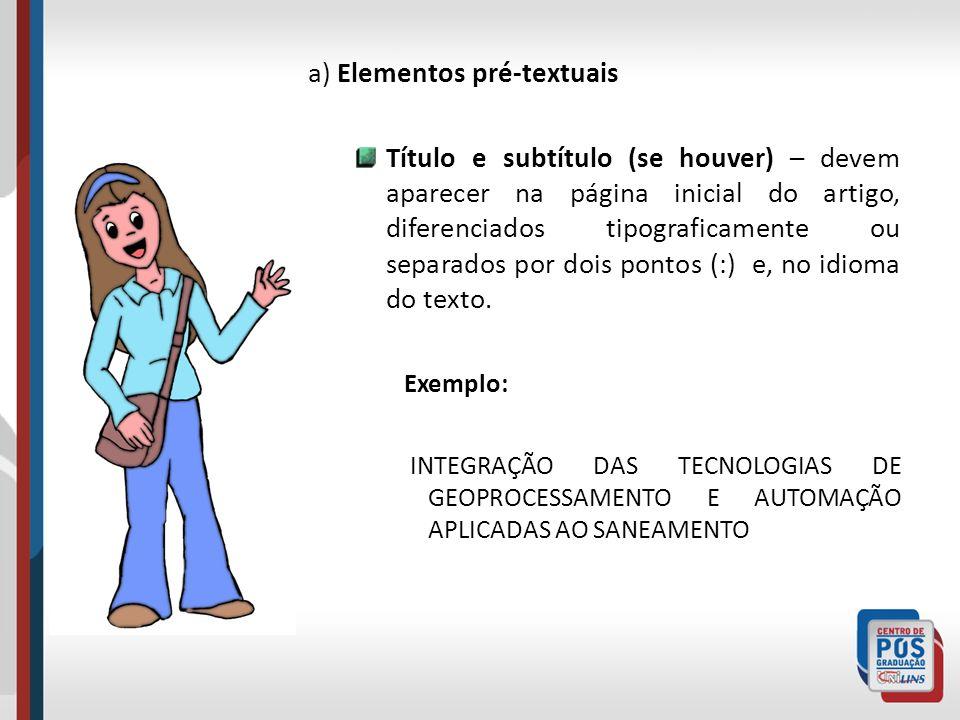 a) Elementos pré-textuais