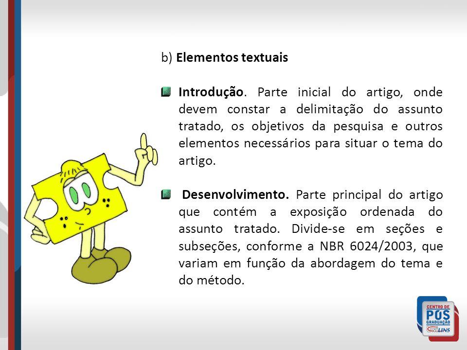b) Elementos textuais