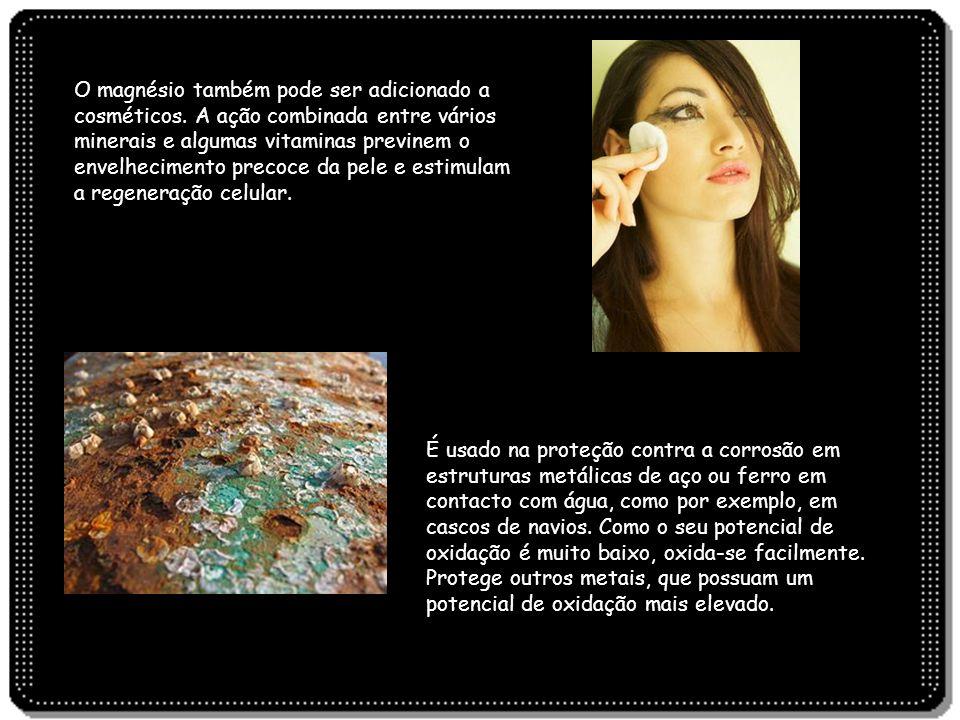 O magnésio também pode ser adicionado a cosméticos