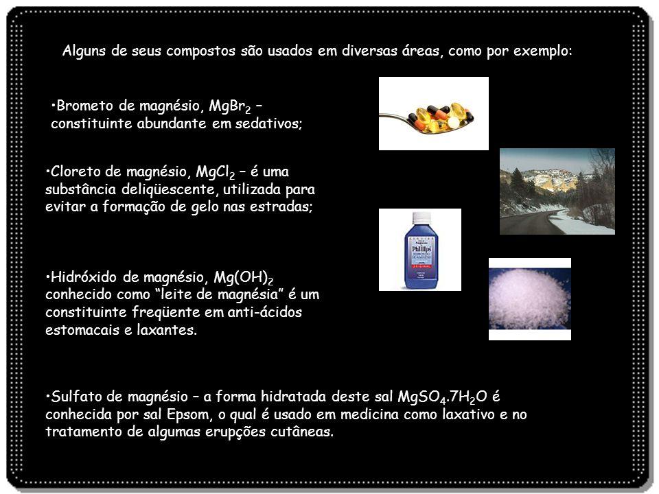 Alguns de seus compostos são usados em diversas áreas, como por exemplo: