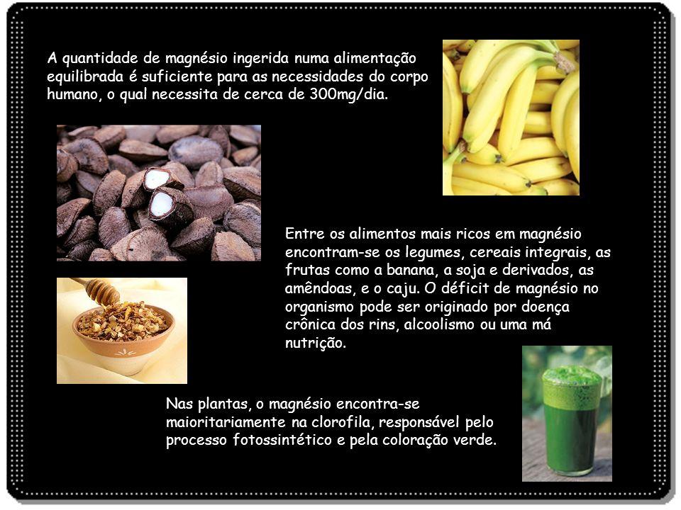 A quantidade de magnésio ingerida numa alimentação equilibrada é suficiente para as necessidades do corpo humano, o qual necessita de cerca de 300mg/dia.