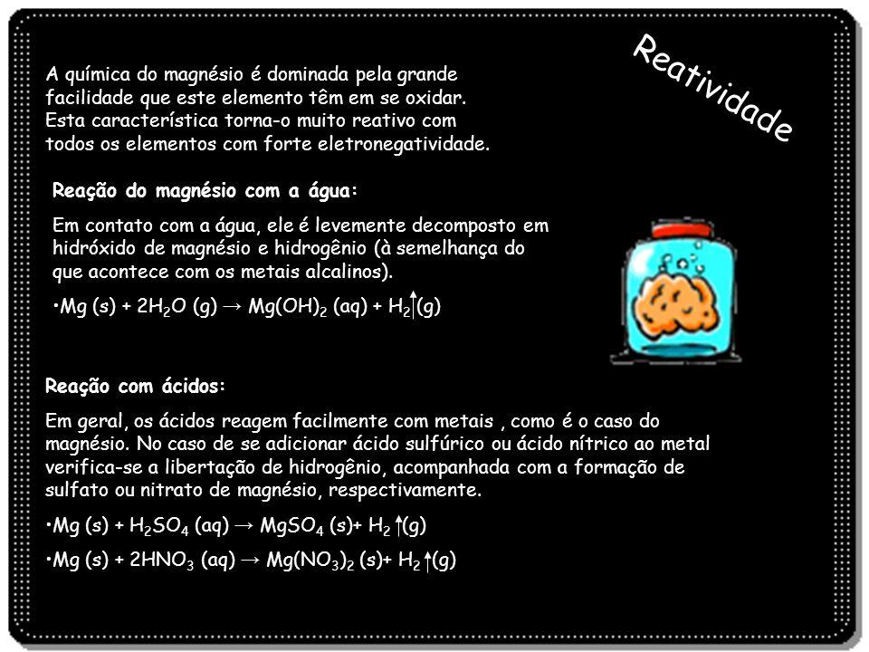 A química do magnésio é dominada pela grande facilidade que este elemento têm em se oxidar. Esta característica torna-o muito reativo com todos os elementos com forte eletronegatividade.