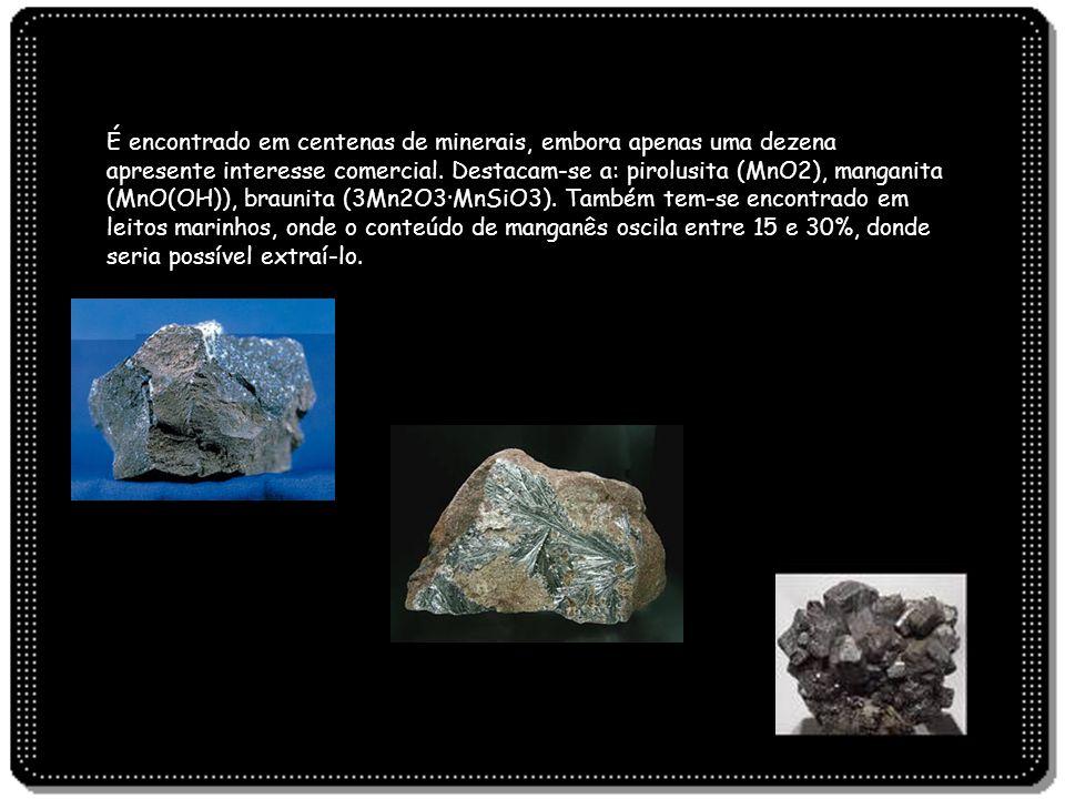 É encontrado em centenas de minerais, embora apenas uma dezena apresente interesse comercial.