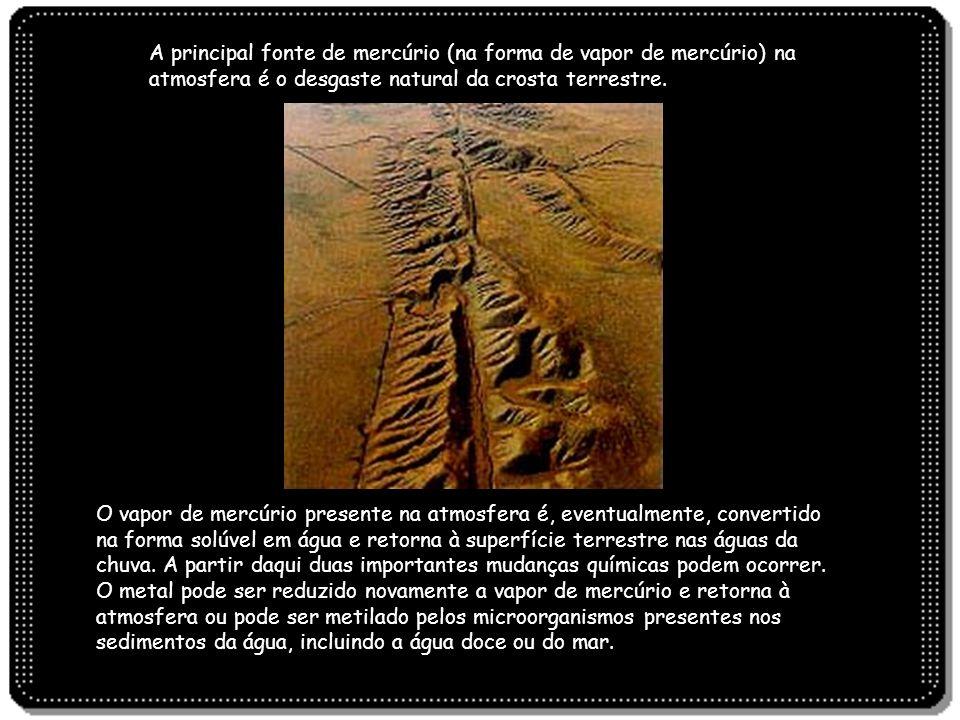 A principal fonte de mercúrio (na forma de vapor de mercúrio) na atmosfera é o desgaste natural da crosta terrestre.