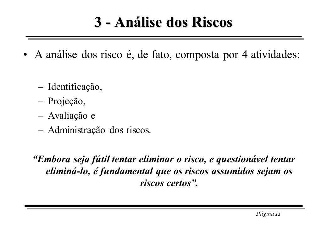3 - Análise dos Riscos A análise dos risco é, de fato, composta por 4 atividades: Identificação, Projeção,