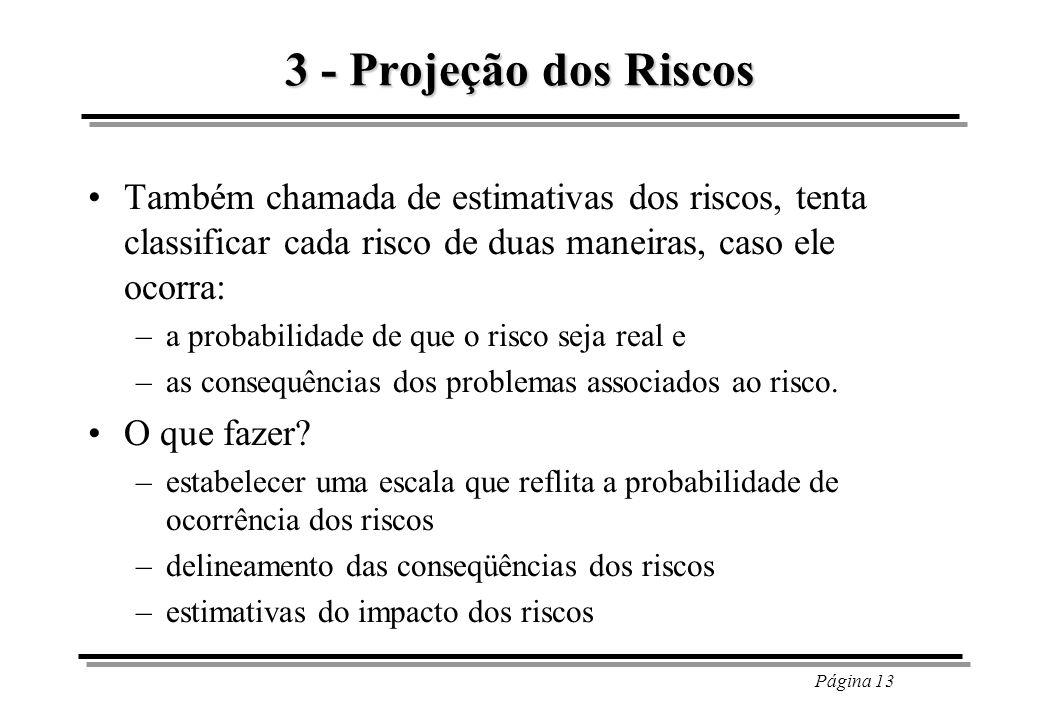 3 - Projeção dos Riscos Também chamada de estimativas dos riscos, tenta classificar cada risco de duas maneiras, caso ele ocorra:
