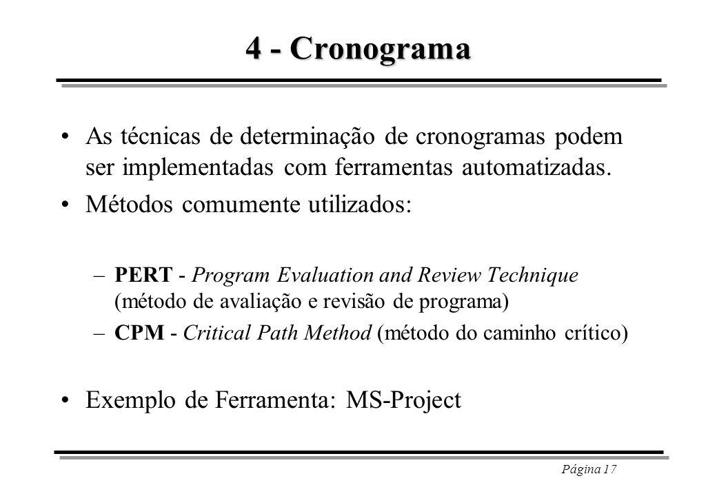 4 - CronogramaAs técnicas de determinação de cronogramas podem ser implementadas com ferramentas automatizadas.