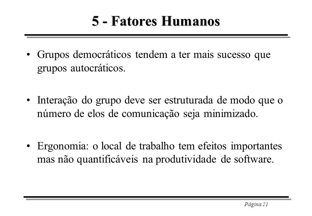 5 - Fatores Humanos Grupos democráticos tendem a ter mais sucesso que grupos autocráticos.