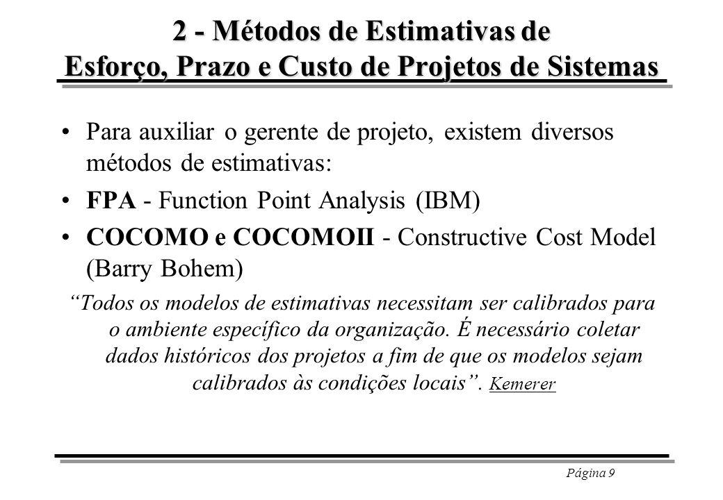 2 - Métodos de Estimativas de Esforço, Prazo e Custo de Projetos de Sistemas