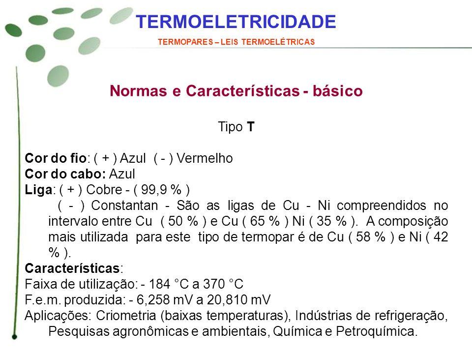 TERMOPARES – LEIS TERMOELÉTRICAS Normas e Características - básico