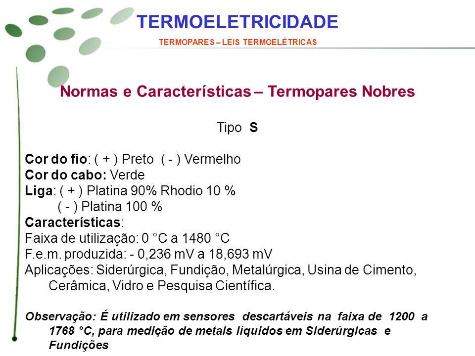 TERMOELETRICIDADE Normas e Características – Termopares Nobres Tipo S