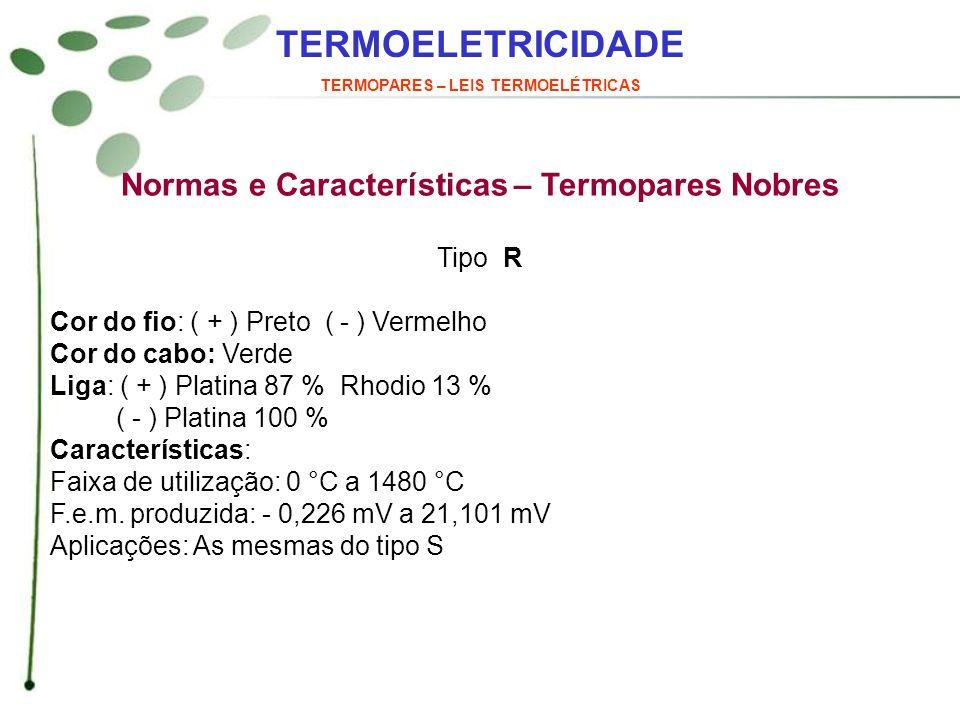 TERMOELETRICIDADE Normas e Características – Termopares Nobres Tipo R