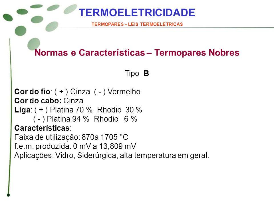 TERMOELETRICIDADE Normas e Características – Termopares Nobres Tipo B