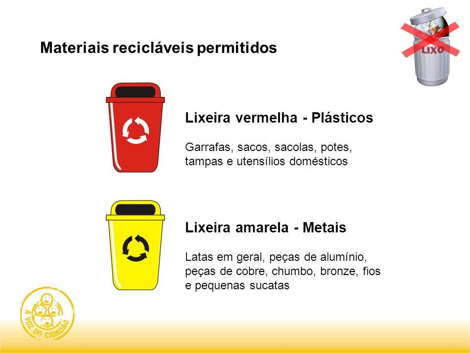 Materiais recicláveis permitidos