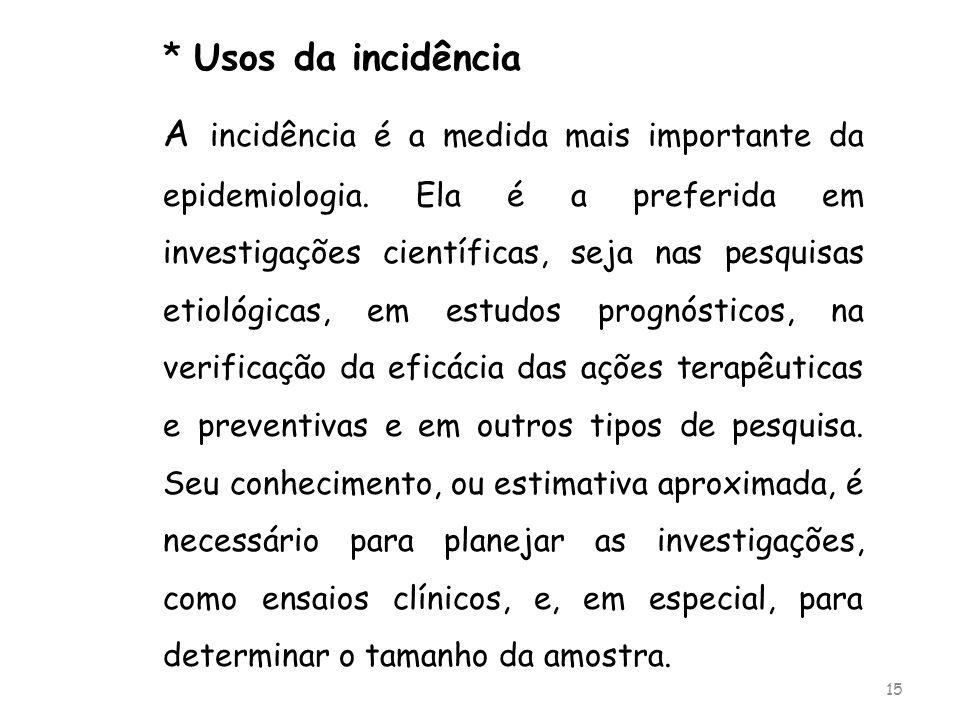 * Usos da incidência
