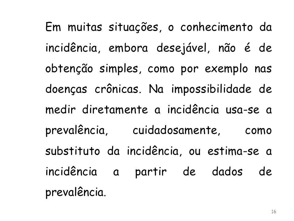 Em muitas situações, o conhecimento da incidência, embora desejável, não é de obtenção simples, como por exemplo nas doenças crônicas.