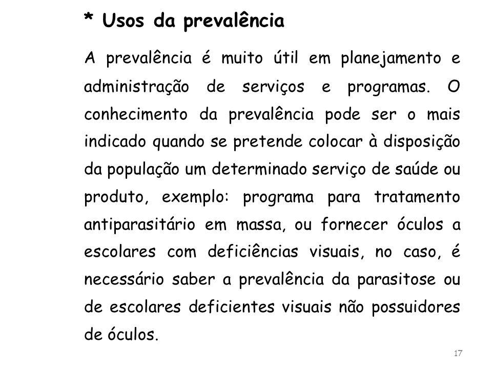 * Usos da prevalência