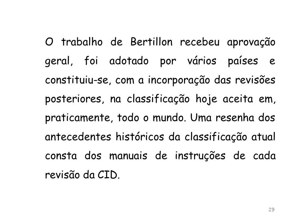O trabalho de Bertillon recebeu aprovação geral, foi adotado por vários países e constituiu-se, com a incorporação das revisões posteriores, na classificação hoje aceita em, praticamente, todo o mundo.